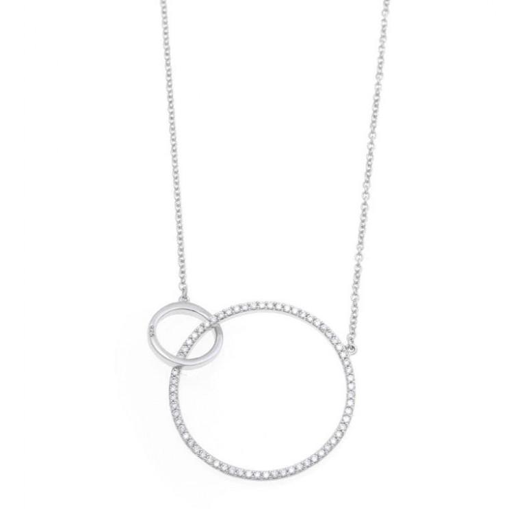 Anillo solitario de oro blanco 18 kilates con diamante central talla brillante engastado en 4 garras