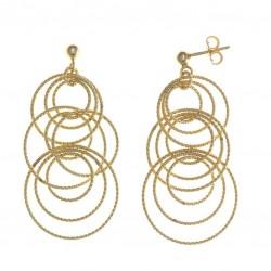 Pendientes de oro blanco 18 kilates con rosetas dobles de diamantes talla brillante